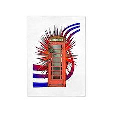 British Red Telephone Box Art 5'x7'Area Rug