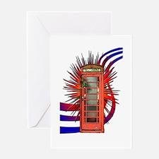 British Red Telephone Box Art Greeting Card