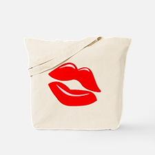 Red Kissy Lips Tote Bag