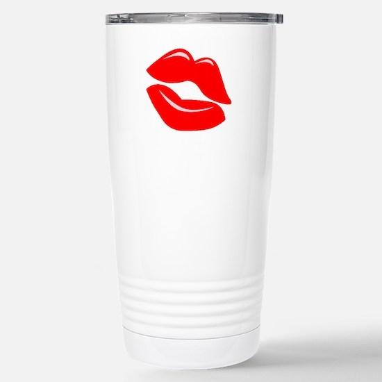 Red Kissy Lips Stainless Steel Travel Mug