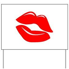 Red Kissy Lips Yard Sign
