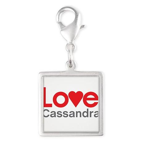 I Love Cassandra Silver Square Charm