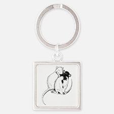 Rat Hug Square Keychain