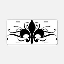Funny Black and silver fleur de lis Aluminum License Plate