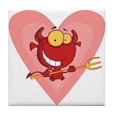 Pitchfork Devil Love Tile Coaster