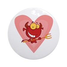Pitchfork Devil Love Ornament (Round)