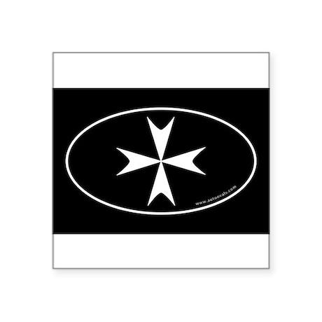Maltese Cross Bumper Sticker -Black (Oval) Sticker