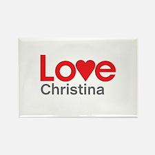 I Love Christina Rectangle Magnet