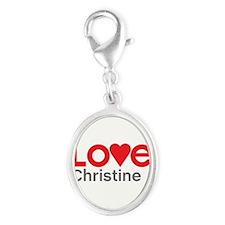 I Love Christine Silver Oval Charm