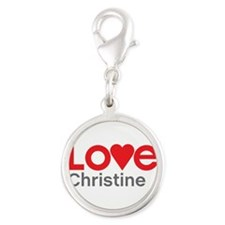I Love Christine Silver Round Charm