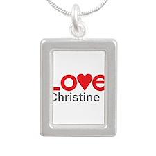 I Love Christine Silver Portrait Necklace