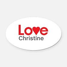 I Love Christine Oval Car Magnet