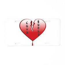 Love Sucks Broken Heart Aluminum License Plate