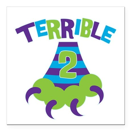 """Terrible 2 Monster Square Car Magnet 3"""" x 3"""""""