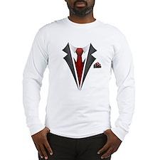 Stylish Red Tie Tuxedo T Shirt Long Sleeve T-Shirt