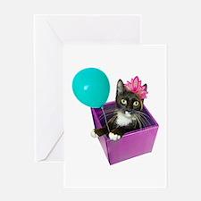 Tuxedo Cat Birthday Greeting Card