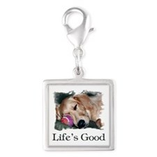 Lifes Good Silver Square Charm