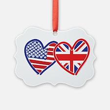 American Flag/Union Jack Flag Hearts Ornament