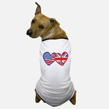 American Flag/Union Jack Flag Hearts Dog T-Shirt