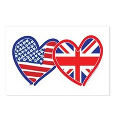 American Flag/Union Jack Flag Hearts Postcards (Pa
