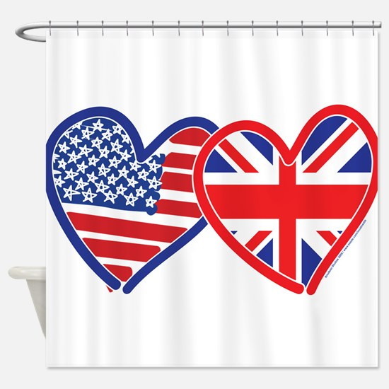 American Flag/Union Jack Flag Hearts Shower Curtai