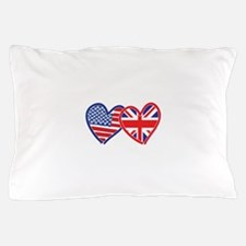 American Flag/Union Jack Flag Hearts Pillow Case