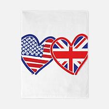 American Flag/Union Jack Flag Hearts Twin Duvet