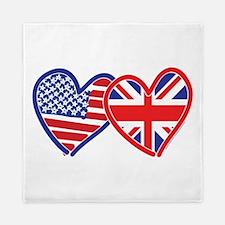 American Flag/Union Jack Flag Hearts Queen Duvet