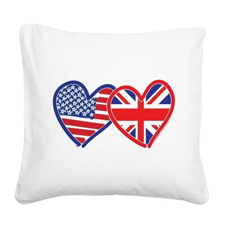 American Flag/Union Jack Flag Hearts Square Canvas