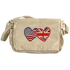 American Flag/Union Jack Flag Hearts Messenger Bag