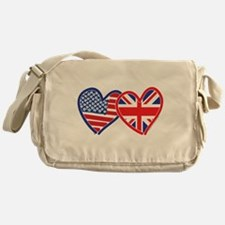 American Flag/Union Jack Flag Hearts Messenger Bag