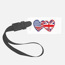 American Flag/Union Jack Flag Hearts Luggage Tag