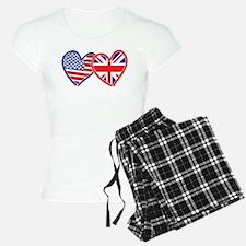 American Flag/Union Jack Flag Hearts Pajamas