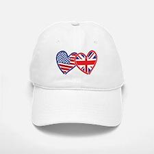 American Flag/Union Jack Flag Hearts Baseball Baseball Cap