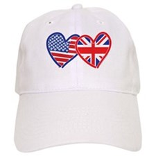 American Flag/Union Jack Flag Hearts Baseball Cap