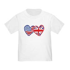 American Flag/Union Jack Flag Hearts T