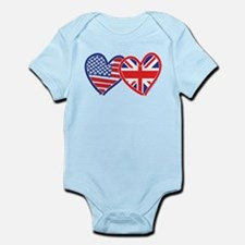 American Flag/Union Jack Flag Hearts Infant Bodysu