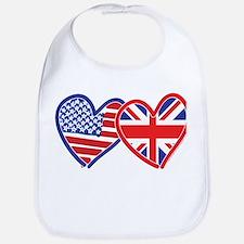 American Flag/Union Jack Flag Hearts Bib