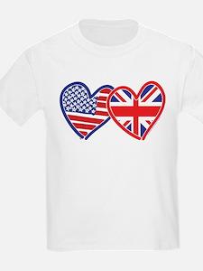 American Flag/Union Jack Flag Hearts T-Shirt