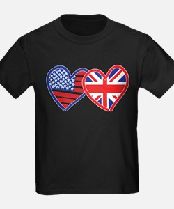 American Flag/Union Jack Flag Hearts T