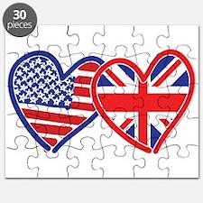American Flag/Union Jack Flag Hearts Puzzle
