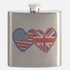 American Flag/Union Jack Flag Hearts Flask
