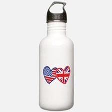 American Flag/Union Jack Flag Hearts Water Bottle