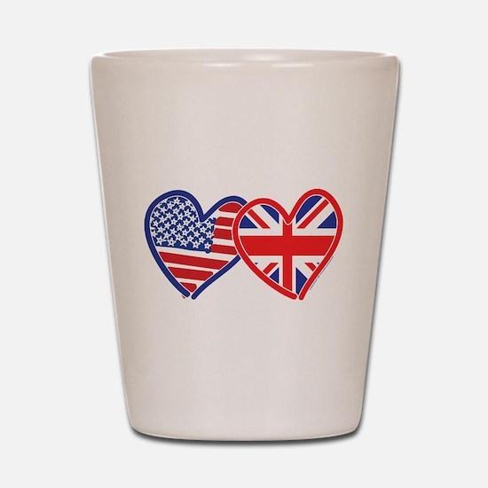 American Flag/Union Jack Flag Hearts Shot Glass