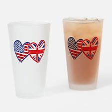American Flag/Union Jack Flag Hearts Drinking Glas