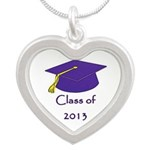 Class of 2013 Silver Heart Necklace Grad Gifts