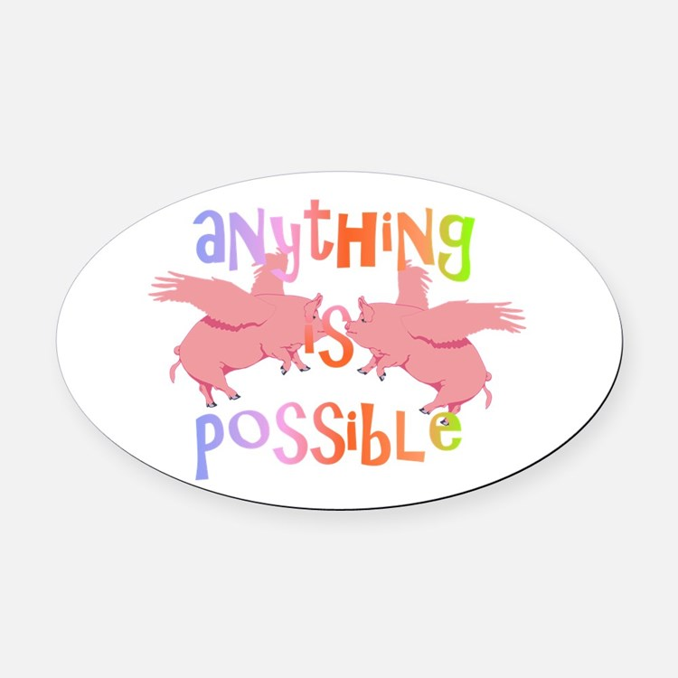 Anything is Possible Oval Car Magnet