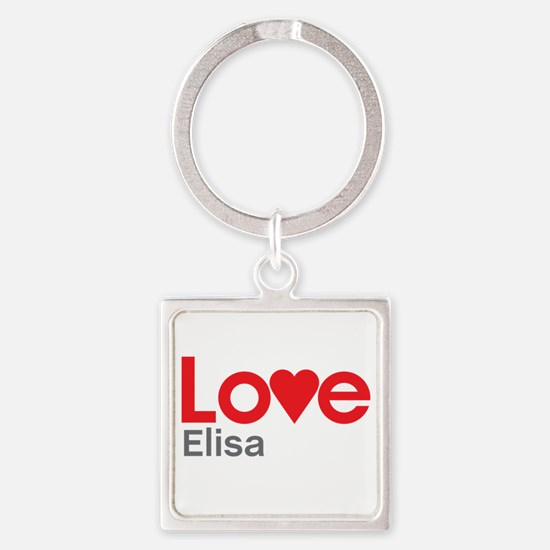 I Love Elisa Square Keychain