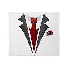 Stylish Red Tie Tuxedo T Shirt Throw Blanket