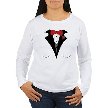 White Dinner Tuxedo t Shirt Long Sleeve T-Shirt